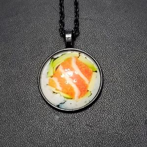 Glass cabochon sushi necklace